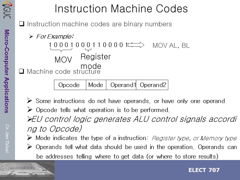 Dr. Amr Talaat ELECT 707 Micro-Computer Applications Instruction Machine Codes  Instruction machine codes are binary numbers  For Example: 1 0 0 0 1