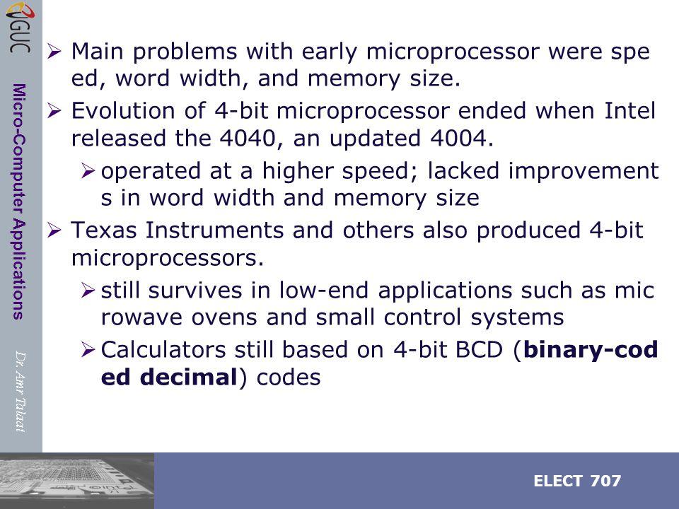 Dr.Amr Talaat ELECT 707 Micro-Computer Applications EU Operation 1.