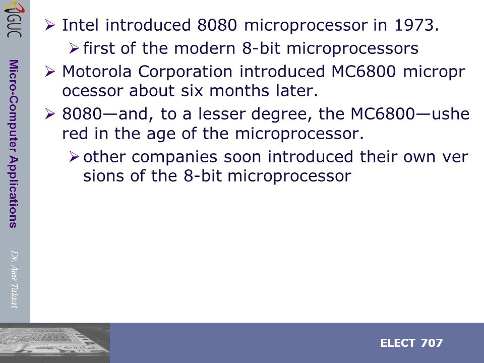 Dr. Amr Talaat ELECT 707 Micro-Computer Applications Registers