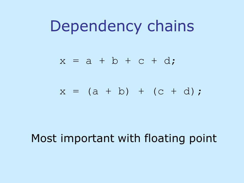 Dependency chains x = a + b + c + d; x = (a + b) + (c + d); Most important with floating point