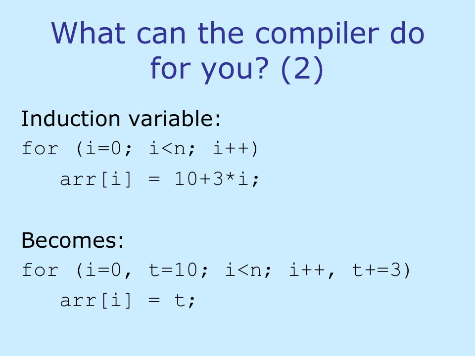 What can the compiler do and what can it not do.