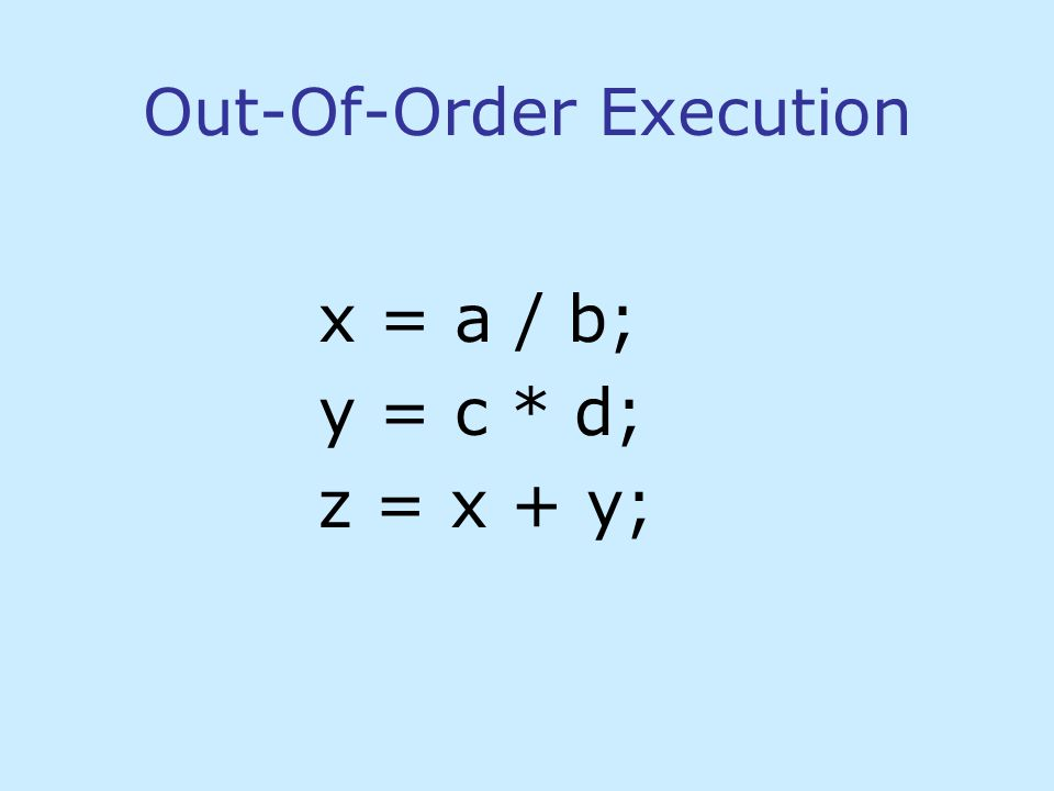 Out-Of-Order Execution x = a / b; y = c * d; z = x + y;