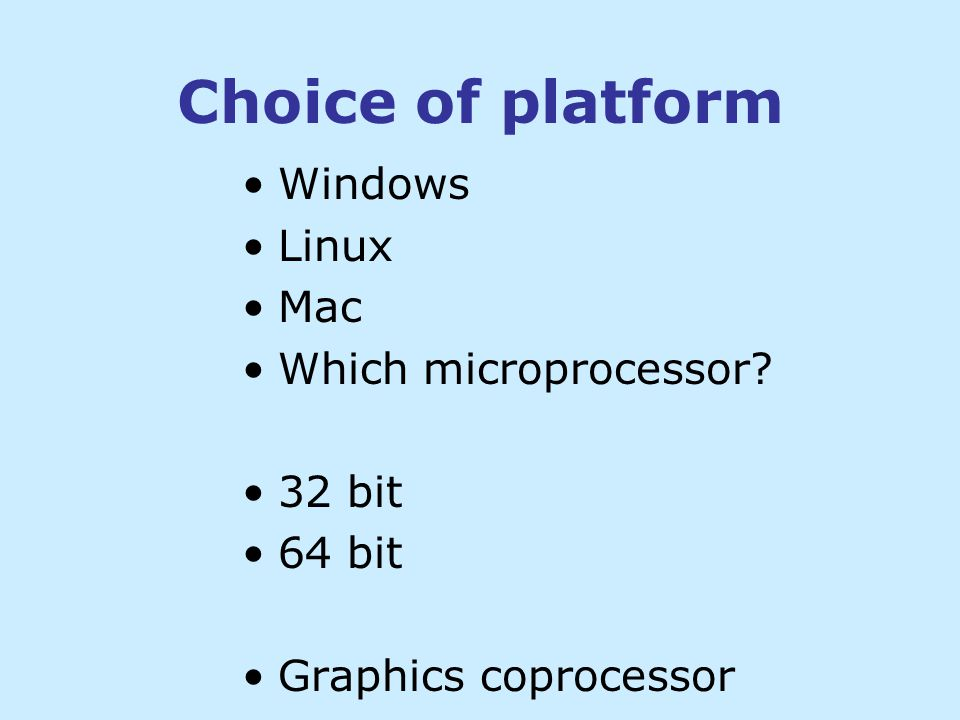 Pros and Cons of 64 bit Pros Number of registers is doubled Function parameters transferred in registers More efficient memory allocation Cons Pointers and stack take more space Some instructions take a little more space