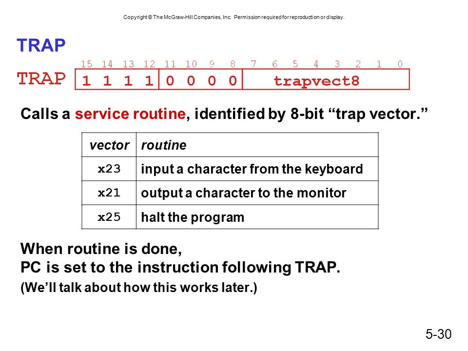 """Copyright © The McGraw-Hill Companies, Inc. Permission required for reproduction or display. 5-30 TRAP Calls a service routine, identified by 8-bit """"t"""
