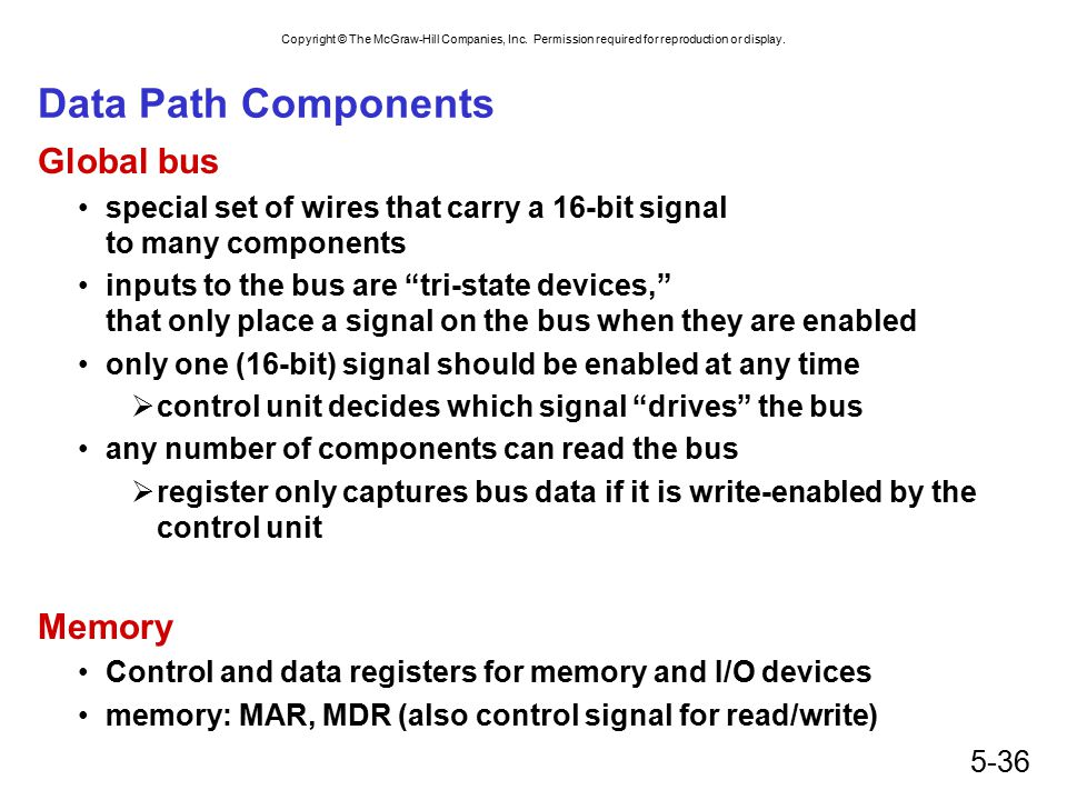 Copyright © The McGraw-Hill Companies, Inc. Permission required for reproduction or display. 5-36 Data Path Components Global bus special set of wires