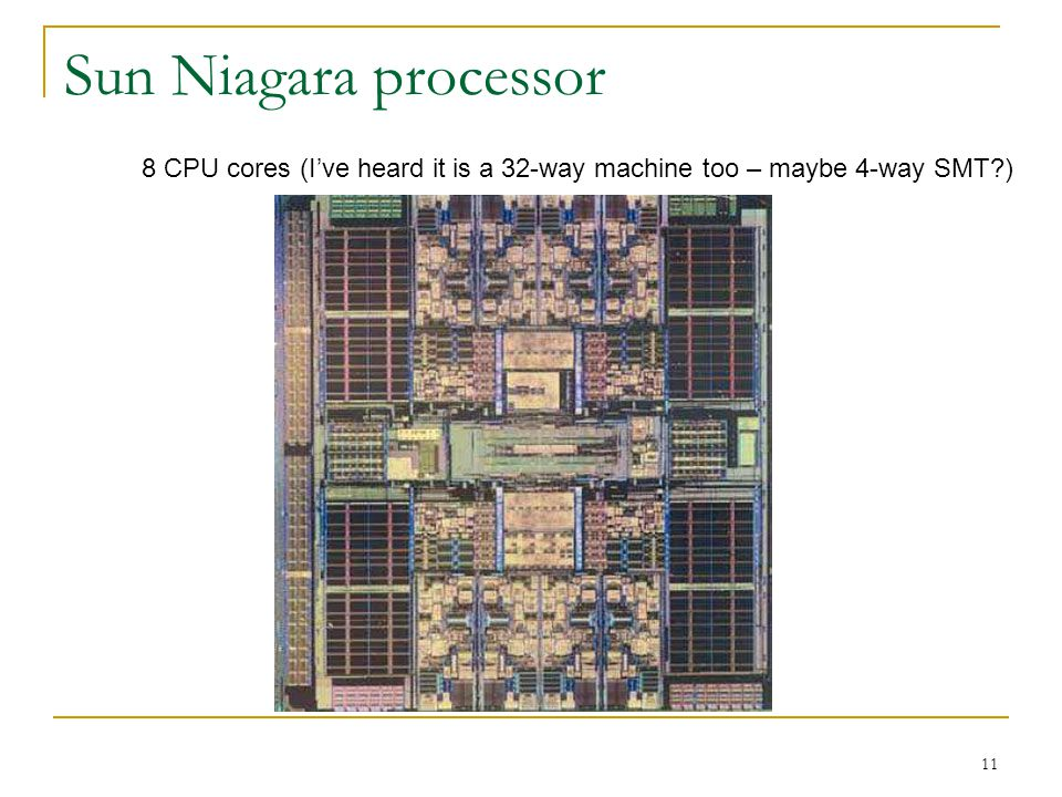 11 Sun Niagara processor 8 CPU cores (I've heard it is a 32-way machine too – maybe 4-way SMT )