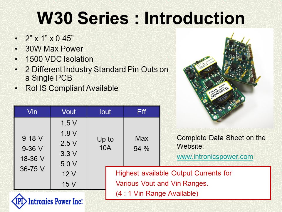 W30 Series : Introduction 2 x 1 x 0.45 30W Max Power 1500 VDC Isolation 2 Different Industry Standard Pin Outs on a Single PCB RoHS Compliant Available VinVoutIoutEff 9-18 V 9-36 V 18-36 V 36-75 V 1.5 V 1.8 V 2.5 V 3.3 V 5.0 V 12 V 15 V Up to 10A Max 94 % Complete Data Sheet on the Website: www.intronicspower.com Highest available Output Currents for Various Vout and Vin Ranges.