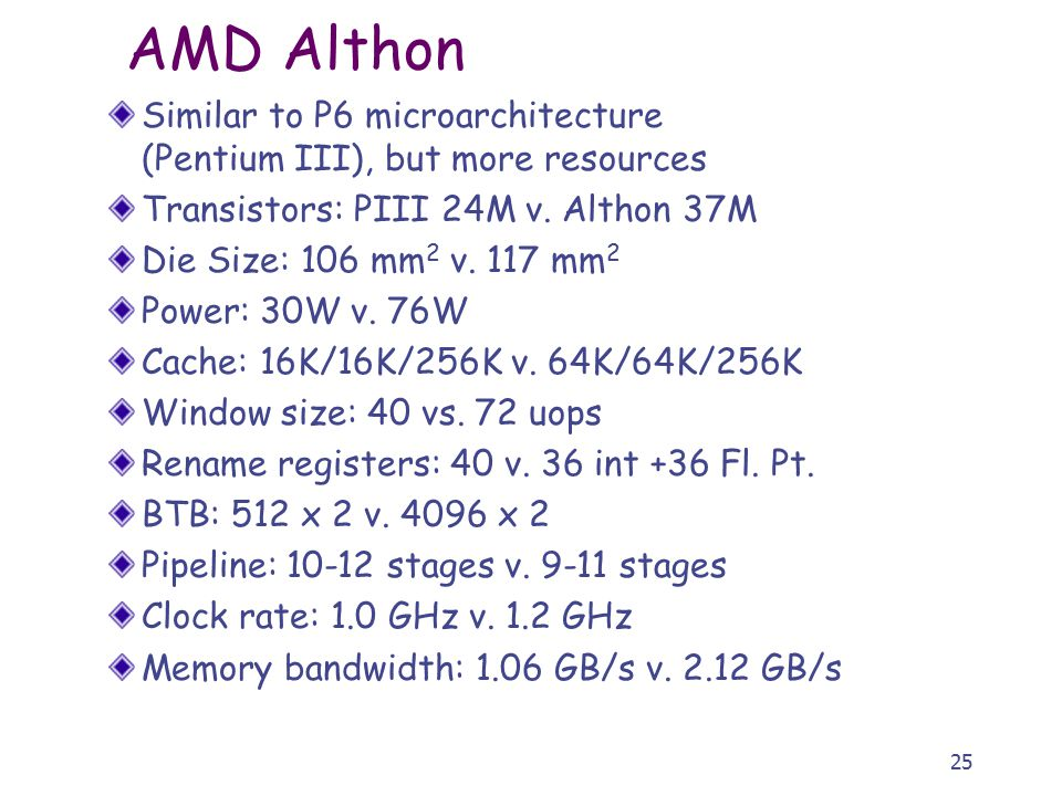 25 AMD Althon Similar to P6 microarchitecture (Pentium III), but more resources Transistors: PIII 24M v.