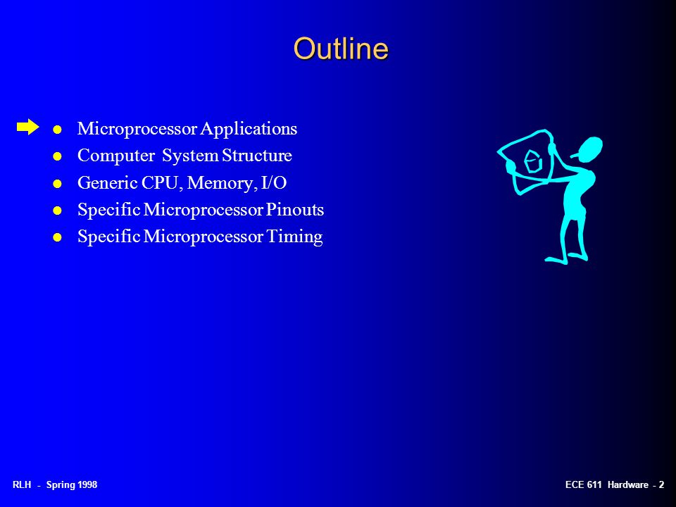 RLH - Spring 1998ECE 611 Hardware - 2 Outline l Microprocessor Applications l Computer System Structure l Generic CPU, Memory, I/O l Specific Microprocessor Pinouts l Specific Microprocessor Timing