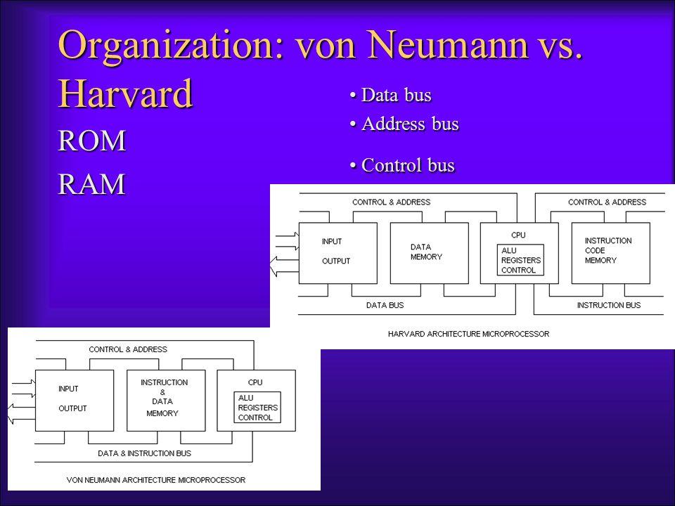 Organization: von Neumann vs. Harvard ROMRAM Data bus Data bus Address bus Address bus Control bus Control bus