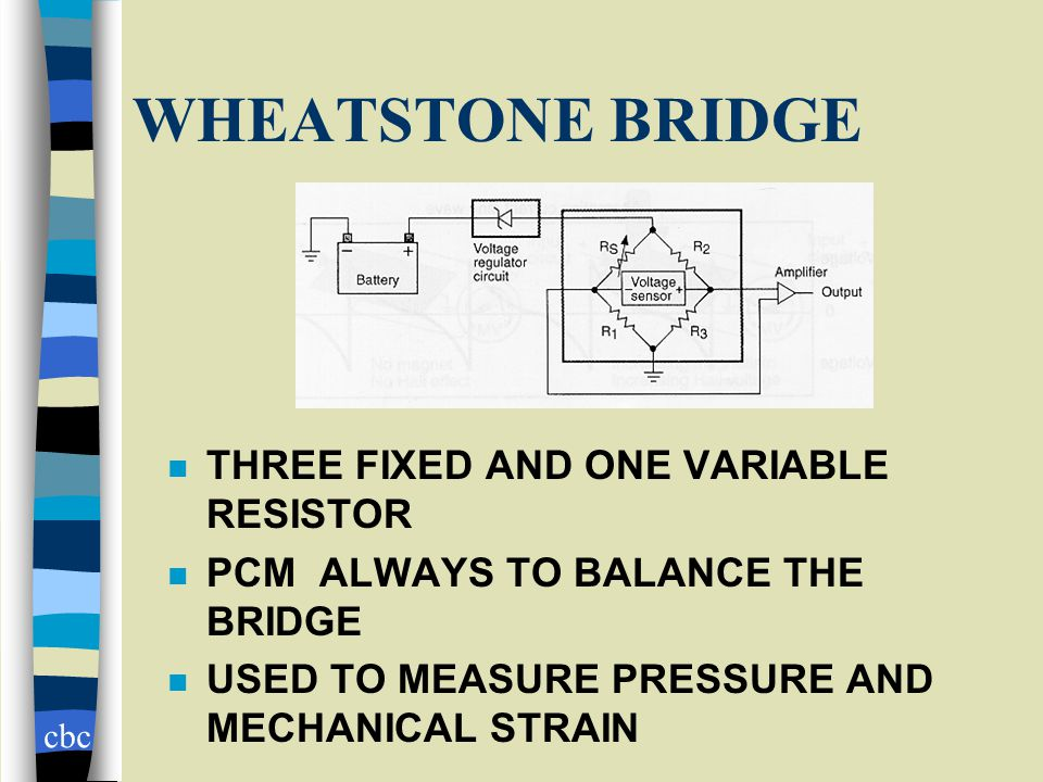 cbc WHEATSTONE BRIDGE n THREE FIXED AND ONE VARIABLE RESISTOR n PCM ALWAYS TO BALANCE THE BRIDGE n USED TO MEASURE PRESSURE AND MECHANICAL STRAIN