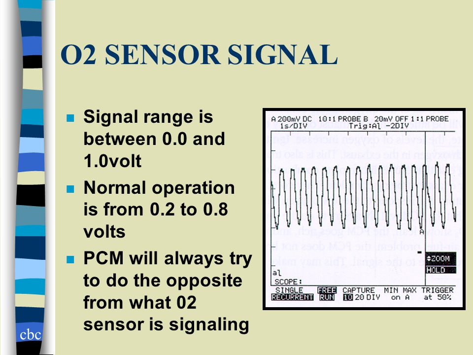 cbc O2 SENSOR SIGNAL n Signal range is between 0.0 and 1.0volt n Normal operation is from 0.2 to 0.8 volts n PCM will always try to do the opposite from what 02 sensor is signaling