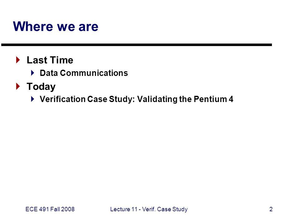 ECE 491 Fall 2008Lecture 11 - Verif.