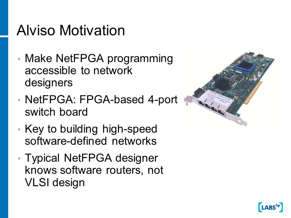 NetFPGA Basic building block is a Xilinix FPGA (Virtex-II) Programming tools are Verilog (simulator-based HDL), Synopsys/Cadence/Xilinx synthesis tools for FPGA Problems −Verilog very low-level design tool −Many details of hardware design must be mastered by designer −No high-level network-based design environment Why is this interesting.