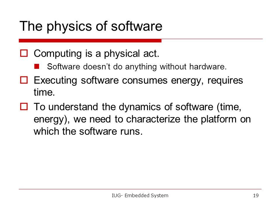 IUG- Embedded System18 Platforms  Embedded computing platform: hardware architecture + associated software.