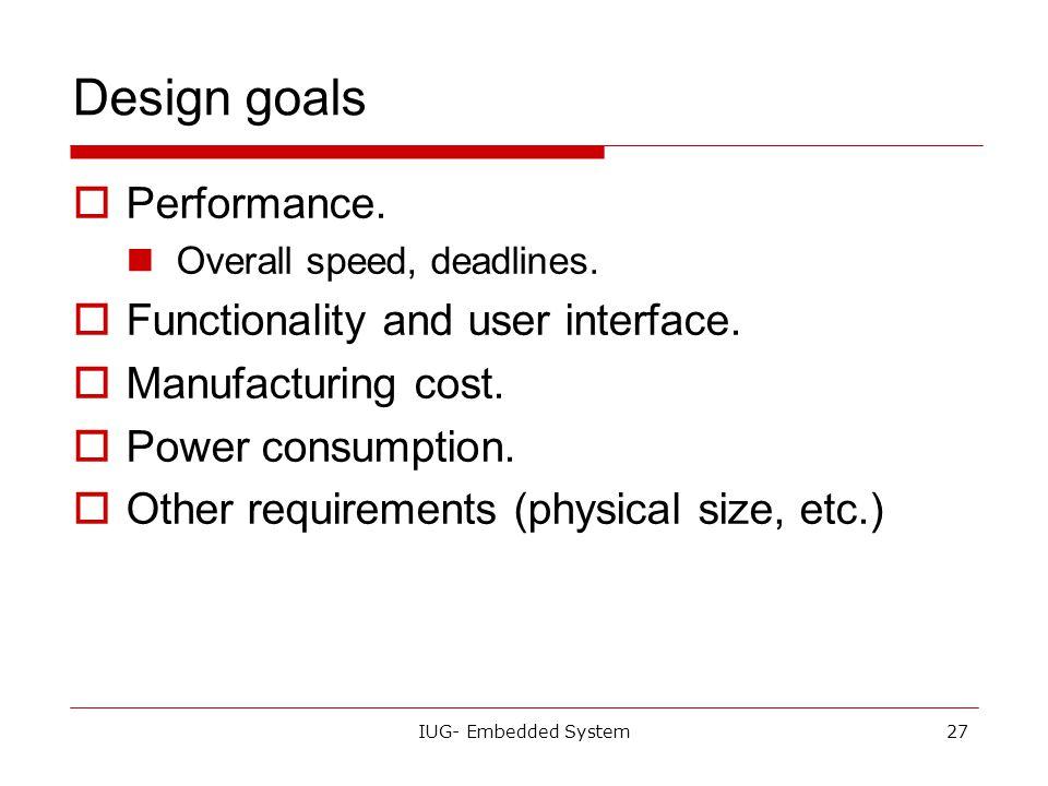 IUG- Embedded System26 Design methodologies  A procedure for designing a system.