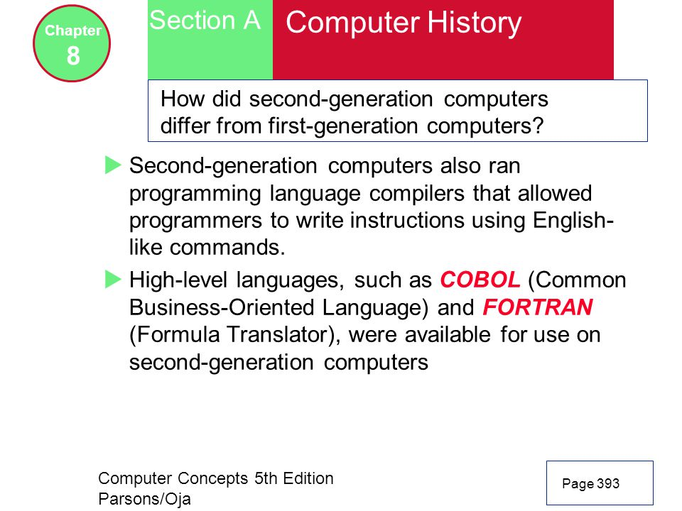Computer Concepts 5th Edition Parsons/Oja Page 393 Section A Chapter 8 Computer History How did second-generation computers differ from first-generation computers.