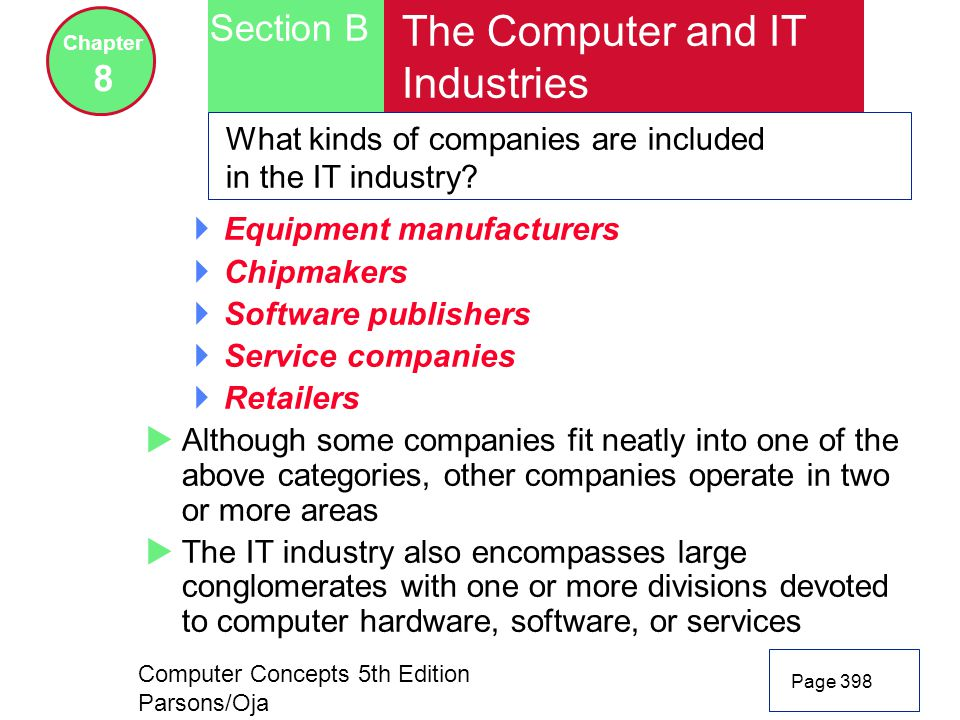 Computer Concepts 5th Edition Parsons/Oja Page 398 Section B Chapter 8 The Computer and IT Industries What kinds of companies are included in the IT industry.