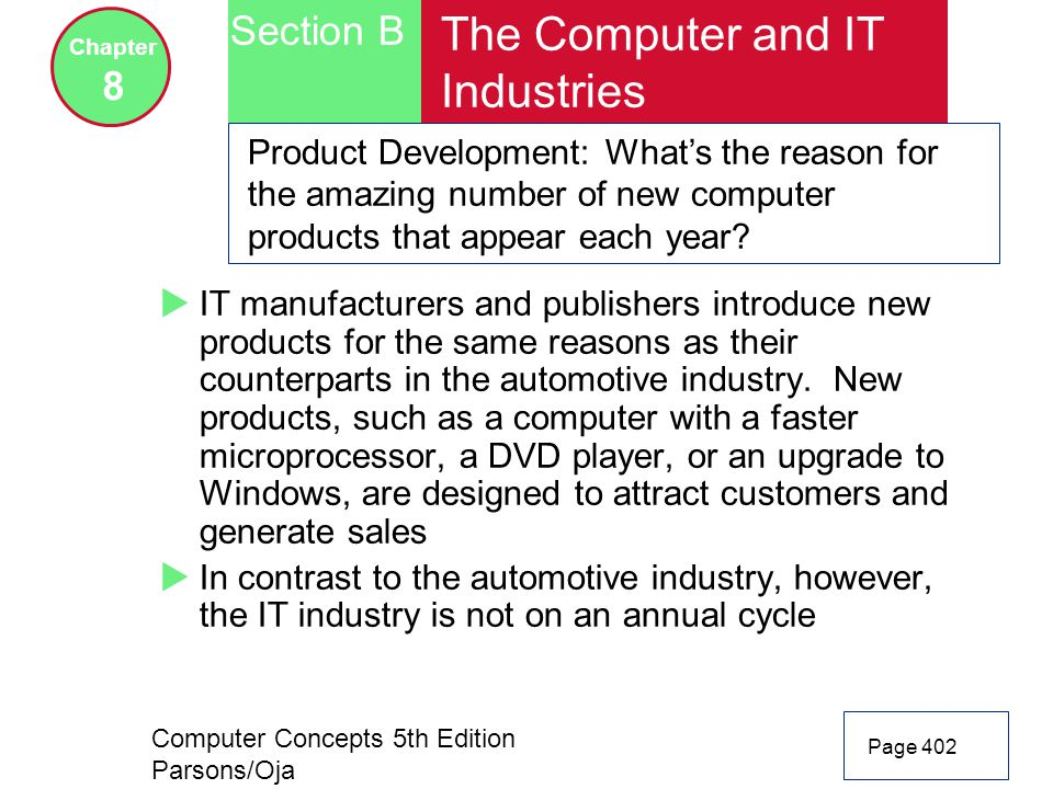 Computer Concepts 5th Edition Parsons/Oja Page 402 Section B Chapter 8 The Computer and IT Industries Product Development: What's the reason for the amazing number of new computer products that appear each year.