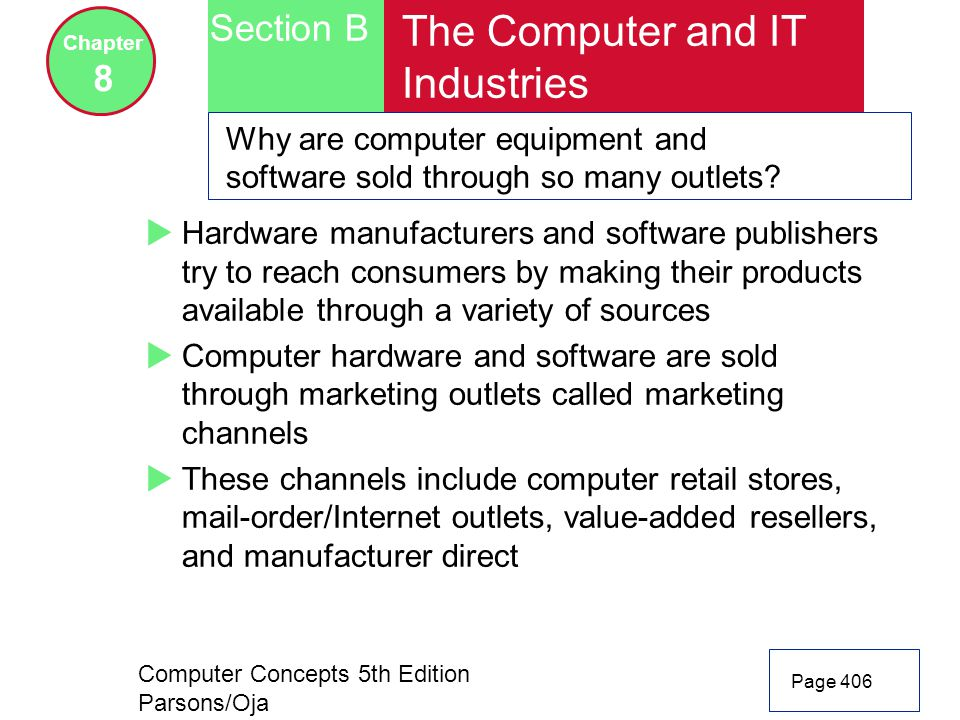 Computer Concepts 5th Edition Parsons/Oja Page 406 Section B Chapter 8 The Computer and IT Industries Why are computer equipment and software sold through so many outlets.