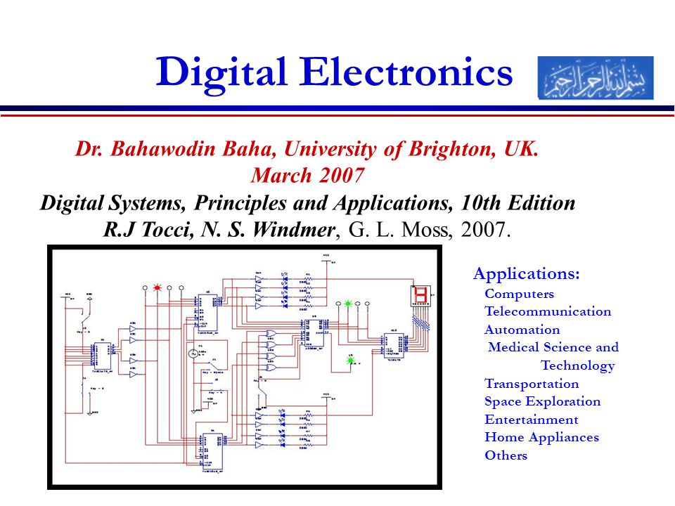 Digital Electronics Applications: Computers Telecommunication Automation Medical Science and Technology Transportation Space Exploration Entertainment