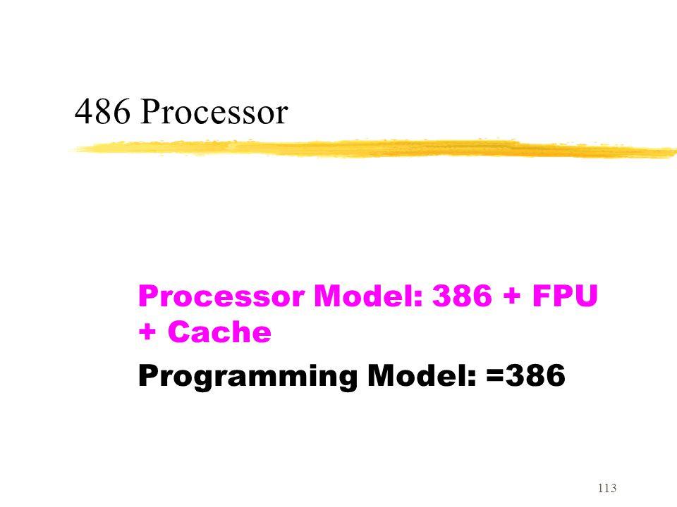 113 486 Processor Processor Model: 386 + FPU + Cache Programming Model: =386