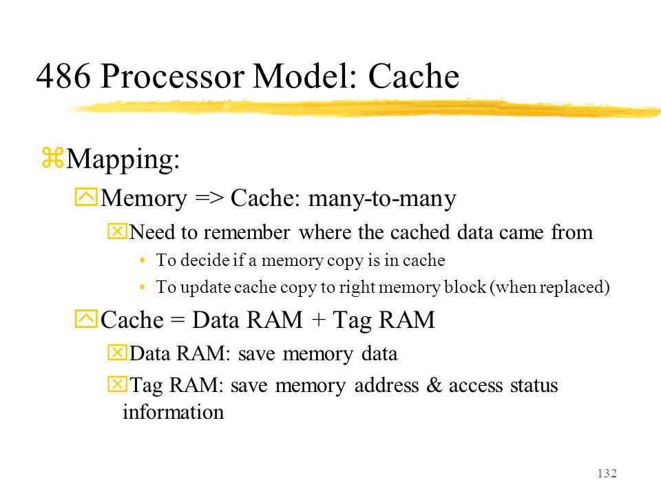 132 486 Processor Model: Cache zMapping: yMemory => Cache: many-to-many xNeed to remember where the cached data came from To decide if a memory copy is in cache To update cache copy to right memory block (when replaced) yCache = Data RAM + Tag RAM xData RAM: save memory data xTag RAM: save memory address & access status information