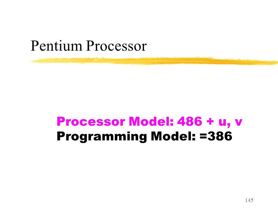 145 Pentium Processor Processor Model: 486 + u, v Programming Model: =386