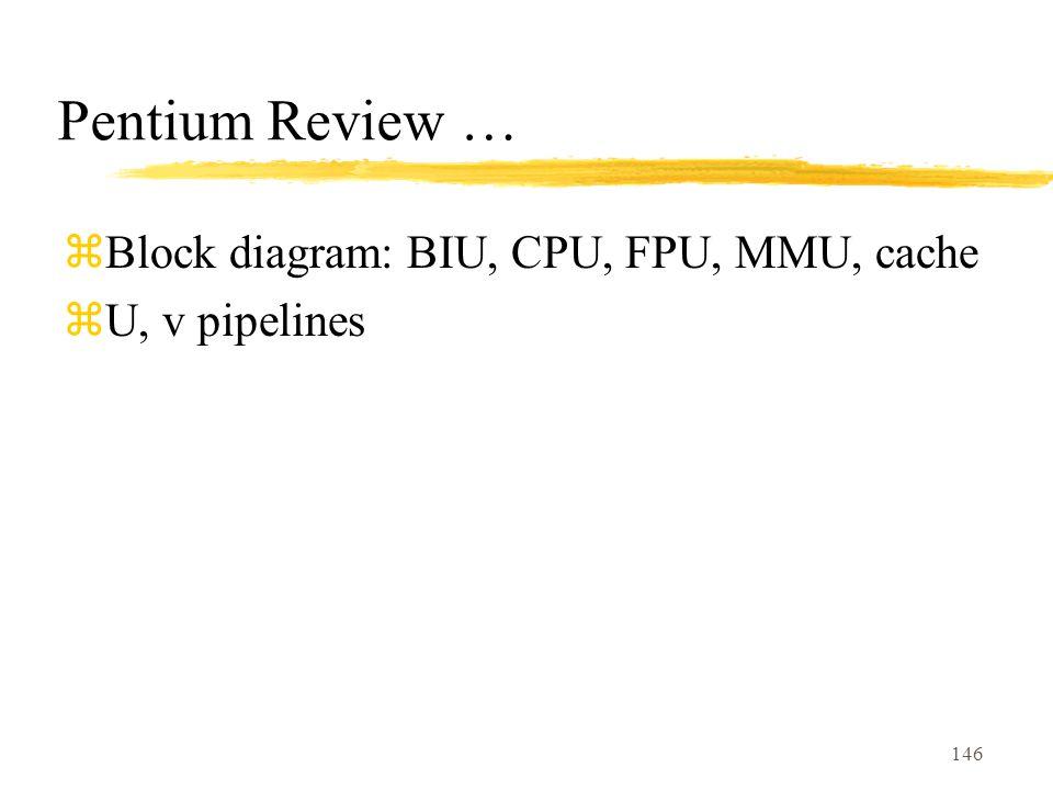 146 Pentium Review … zBlock diagram: BIU, CPU, FPU, MMU, cache zU, v pipelines
