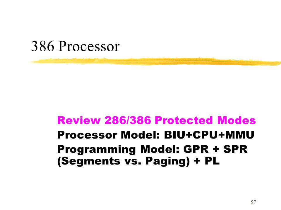 57 386 Processor Review 286/386 Protected Modes Processor Model: BIU+CPU+MMU Programming Model: GPR + SPR (Segments vs.