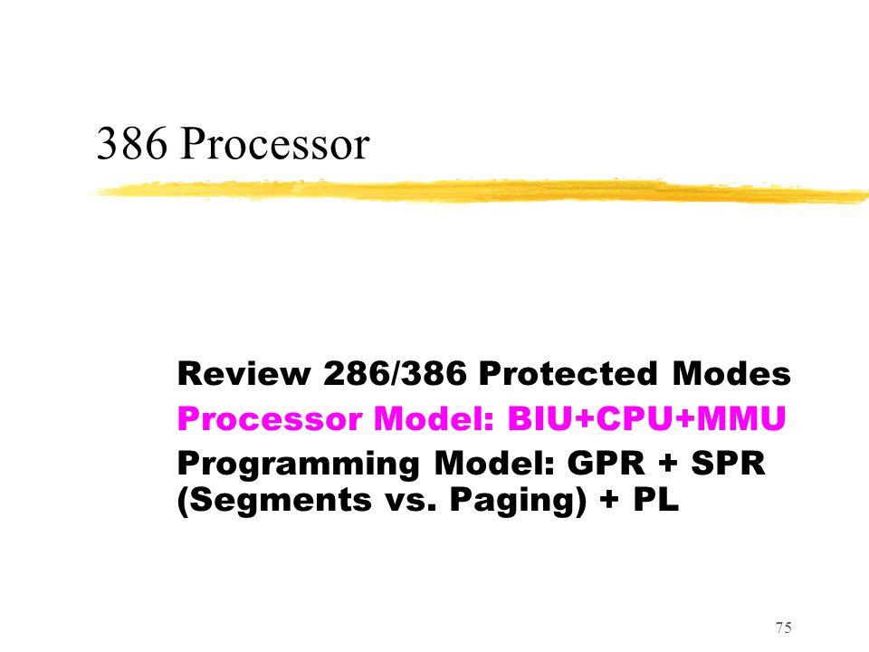 75 386 Processor Review 286/386 Protected Modes Processor Model: BIU+CPU+MMU Programming Model: GPR + SPR (Segments vs.