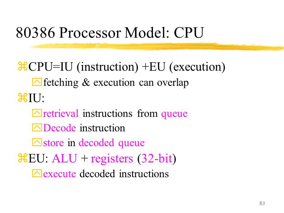 83 80386 Processor Model: CPU zCPU=IU (instruction) +EU (execution) yfetching & execution can overlap zIU: yretrieval instructions from queue yDecode instruction ystore in decoded queue zEU: ALU + registers (32-bit) yexecute decoded instructions