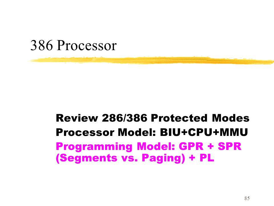 85 386 Processor Review 286/386 Protected Modes Processor Model: BIU+CPU+MMU Programming Model: GPR + SPR (Segments vs.