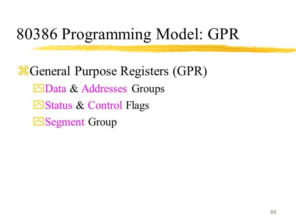 86 80386 Programming Model: GPR zGeneral Purpose Registers (GPR) yData & Addresses Groups yStatus & Control Flags ySegment Group