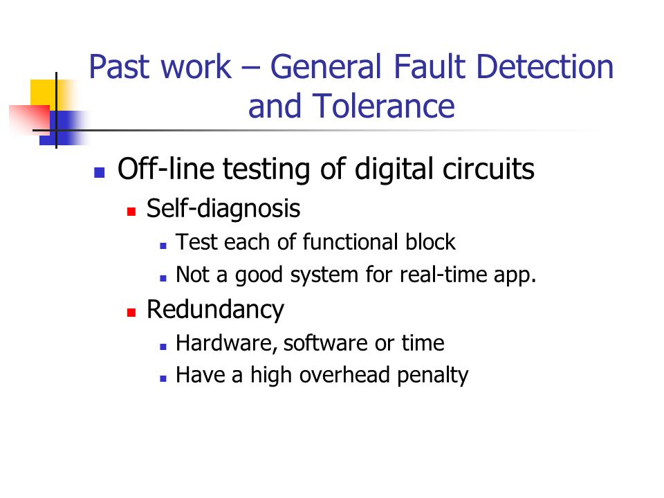 Past work – General Fault Detection and Tolerance Off-line testing of digital circuits Self-diagnosis Test each of functional block Not a good system for real-time app.
