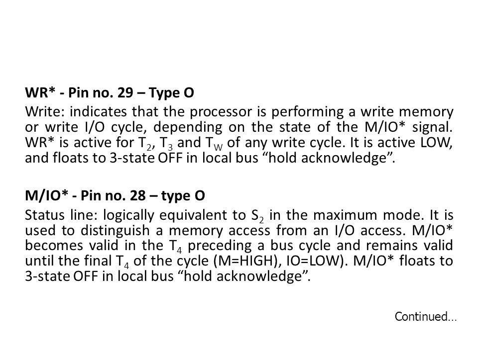 WR* - Pin no.