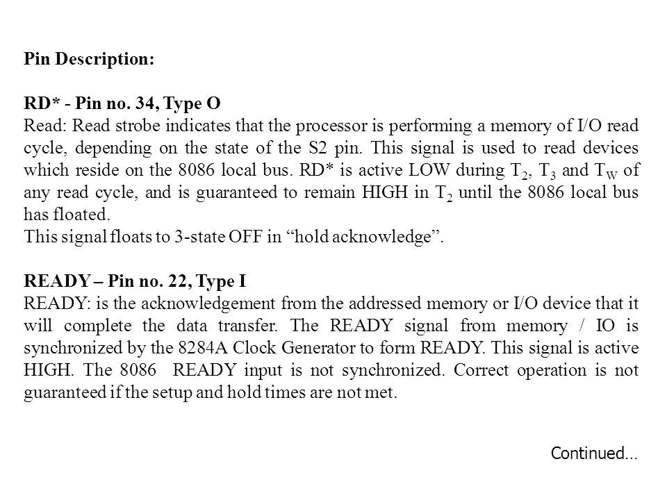 Pin Description: RD* - Pin no.