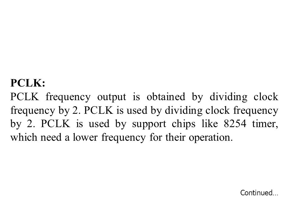 PCLK: PCLK frequency output is obtained by dividing clock frequency by 2.