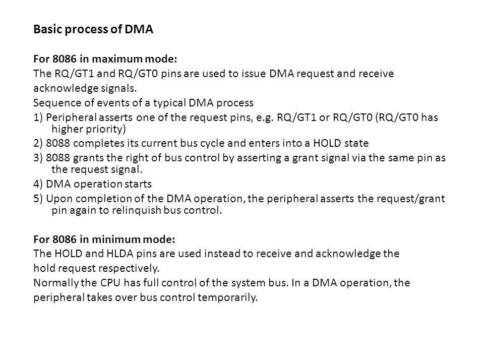 Basic process of DMA For 8086 in maximum mode: The RQ/GT1 and RQ/GT0 pins are used to issue DMA request and receive acknowledge signals.