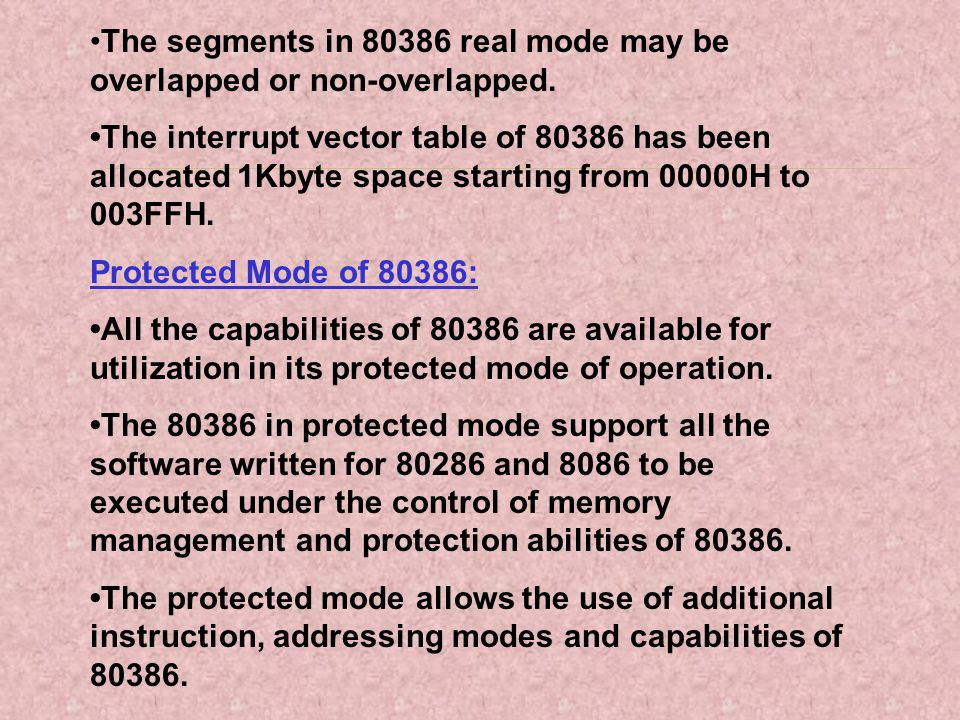 The segments in 80386 real mode may be overlapped or non-overlapped. The interrupt vector table of 80386 has been allocated 1Kbyte space starting from