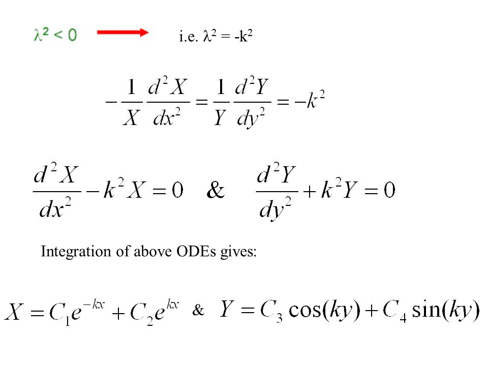 Integrating above equations twice, we get The product of above equations should provide a solution to the Laplace equation: Linear variation of temperature in both x and y directions.