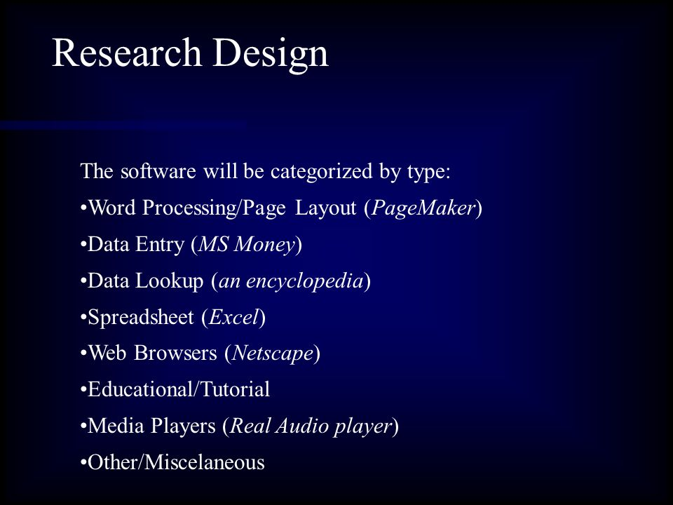 Research Design The software will be categorized by type: Word Processing/Page Layout (PageMaker) Data Entry (MS Money) Data Lookup (an encyclopedia) Spreadsheet (Excel) Web Browsers (Netscape) Educational/Tutorial Media Players (Real Audio player) Other/Miscelaneous