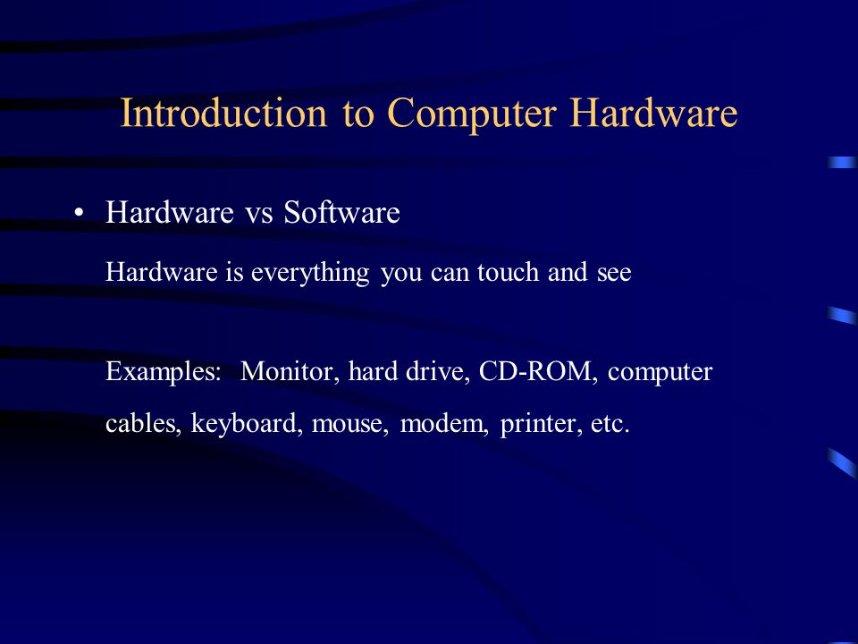 Computer Memory ROM - Read Only Memory –Instructions and data are hard coded on the silicon chips –Examples:BIOS (Basic Input-Output System) gives computer the initial instructions to get it started once computer is turned on.