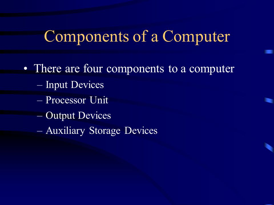 Input Devices Input Devices enable the user to enter data into memory Examples of input devices: –Keyboard –Mouse –Scanner –Touch Screen Input –OCR