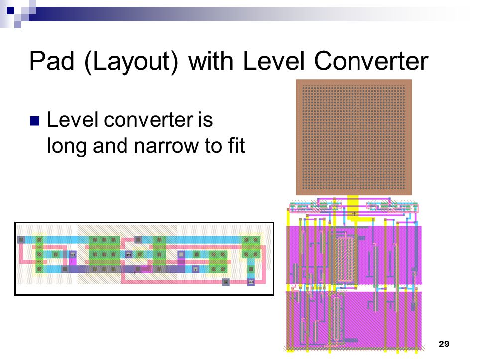 29 Pad (Layout) with Level Converter Level converter is long and narrow to fit