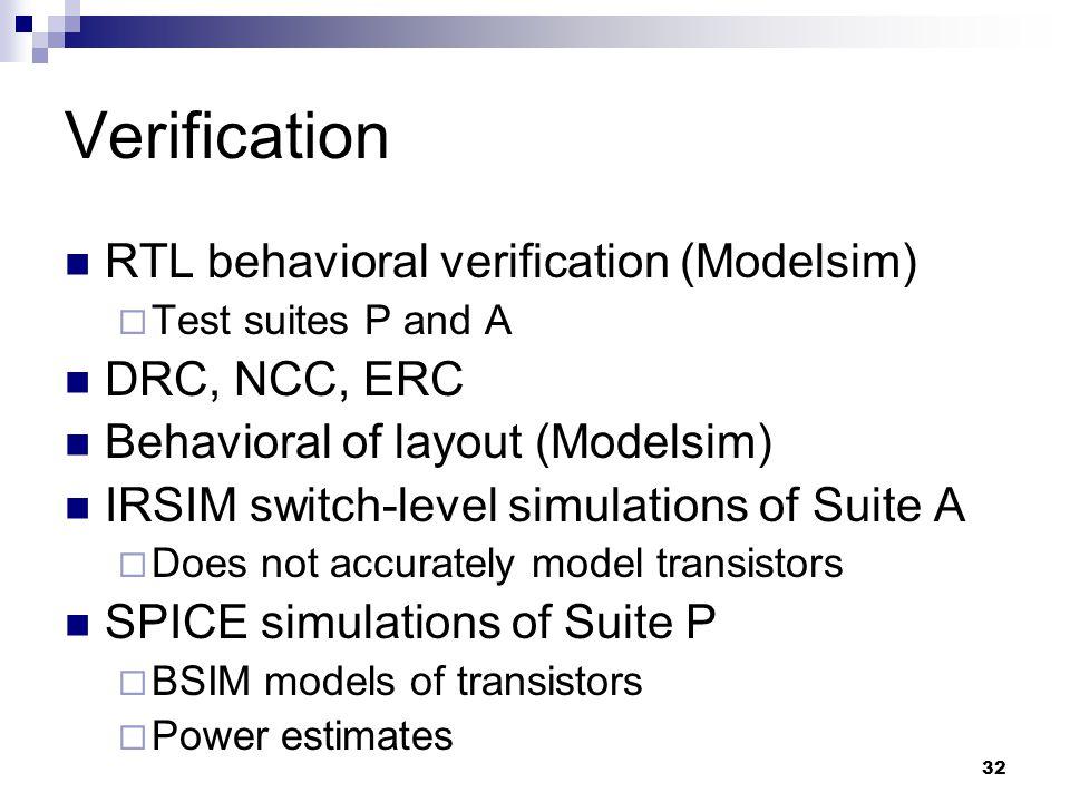 32 Verification RTL behavioral verification (Modelsim)  Test suites P and A DRC, NCC, ERC Behavioral of layout (Modelsim) IRSIM switch-level simulations of Suite A  Does not accurately model transistors SPICE simulations of Suite P  BSIM models of transistors  Power estimates