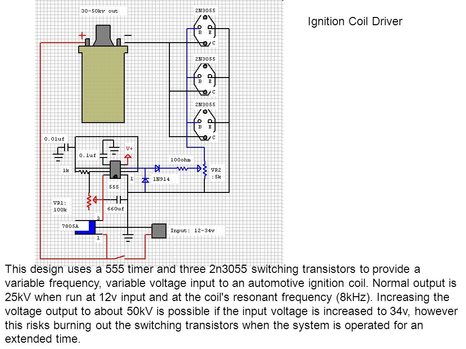 Ignition Coil Driver This design uses a 555 timer and three 2n3055 switching transistors to provide a variable frequency, variable voltage input to an