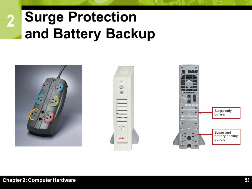 2 Chapter 2: Computer Hardware53 Surge Protection and Battery Backup
