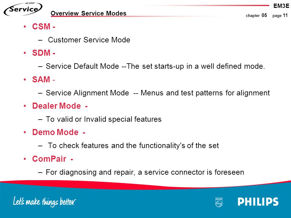 EM3E chapter 05 page 11 Overview Service Modes CSM - – Customer Service Mode SDM - –Service Default Mode --The set starts-up in a well defined mode. S