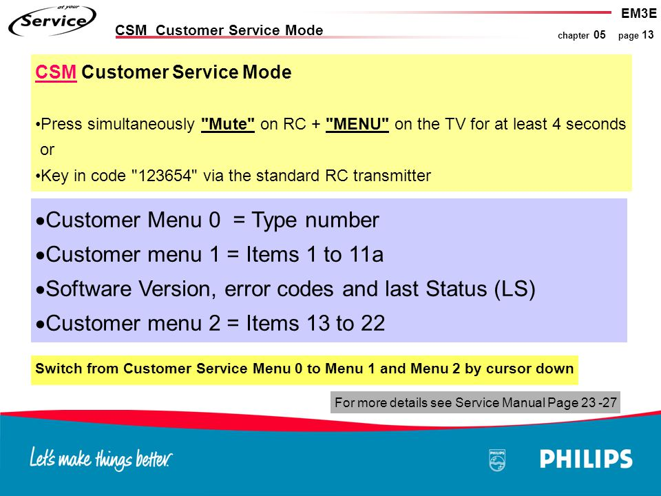 EM3E chapter 05 page 13 CSM Customer Service Mode  Customer Menu 0 = Type number  Customer menu 1 = Items 1 to 11a  Software Version, error codes a